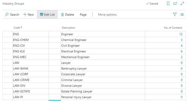 Screenshot: Industry Groups
