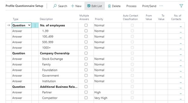Screenshot: Profile Questionnaire Setup