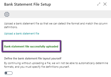 Bank statement file successfully uploaded