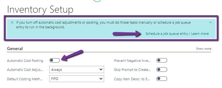 Finding the assisted setup after disabling Automatic Cost Posting